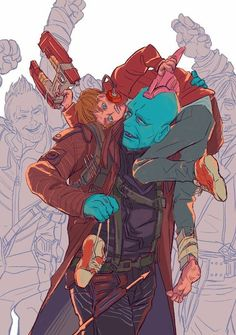 Yondu y StarLord Marvel Avengers, Marvel Fan Art, Marvel Funny, Marvel Memes, Marvel Dc Comics, Yondu Marvel, Yondu Udonta, Gardians Of The Galaxy, Peter Quill