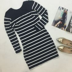 """Navy Striped Long Sleeve Knit Bodycon Dress Great long-sleep stretchy body con dress with a navy and white stripe design. Slightly scooped back.  Darts at bust. Worn once. Approx. 33"""" long. Please carefully review each photo before purchase as they are the best descriptors of the item. My price is firm. No trades. First come, first served. Thank you! :) Zara Dresses Long Sleeve"""