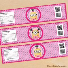 girl minion bottle labels FREE Printable Despicable Me girl Minions Water Bottle Labels
