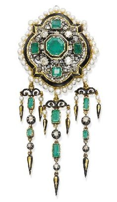 AN ANTIQUE EMERALD, PEARL AND DIAMOND BROOCH. Designed as an old-cut diamond openwork plaque with emerald collet detail and black enamel and seed pearl border suspending a detachable emerald and diamond fringe, with French assay mark for gold, circa 1880.