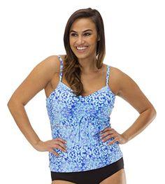 3ce3615595 (MZ765) Mazu Swim Womens Plus Size Drawstring Tankini Top (16W-24W) in Leaf  Play Size  24W at Amazon Women s Clothing store