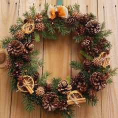 Natural Christmas Wreath for Front Door Dried Citrus Wreath Winter Pine Wreath Holiday Decor for Doo Christmas Wreaths For Front Door, Holiday Wreaths, Holiday Decor, Winter Wreaths, Fresh Christmas Wreaths, Artificial Christmas Wreaths, Navidad Diy, Xmas Decorations, Natural Christmas Decorations