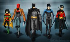 so, batman and robins with my little redesign. nanananananana Batman - [link] Nightwing - [link] Red Hood - [link] Red Robin - [link] i didnt sibmit sol. Batman and sons Nightwing, Batwoman, Batgirl, I Am Batman, Batman Robin, Batman Stuff, Funny Batman, Batman Art, Superman