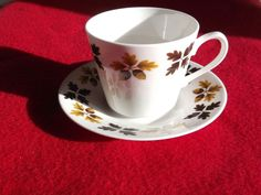 Pair of Gainsborough bone china cups and saucers Acorn and Oak leaves pattern.