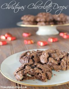 Christmas Chocolate Drops are perfect for Cookie Exchanges and giving in a goodie basket during the holidays.