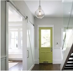 Light grey for foyer with colorful door.  May finally be able to part with the yellow?