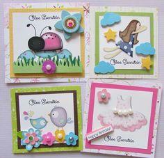 Tarjetas de presentación para niñas Facebook crafts by iris / instagram @craftsbyiris Happy Birthday, Invitation Cards, Note Cards, Card Stock, Little Girls, Scrapbooking, Kawaii, Babies, Stickers