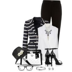Black and White for the Office by snickersmother on Polyvore featuring polyvore, fashion, style, Mauro Grifoni, ESCADA, Pied a Terre, Yves Saint Laurent, MICHAEL Michael Kors, Blue Nile and Sperry Top-Sider
