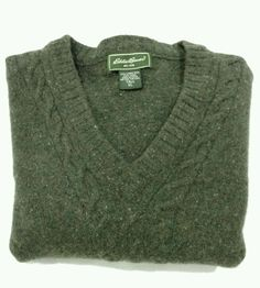 Eddie Bauer Men's V Neck Wool Sweater Olive/Army Green with Flecks Ribbed Panel | Clothing, Shoes & Accessories, Men's Clothing, Sweaters | eBay!