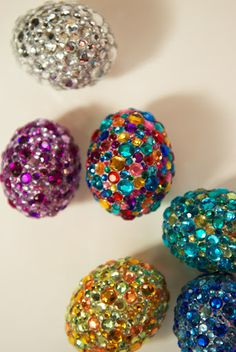 Rhinestone Eggs. i could put these in bowl as a year-round decoration so cute!