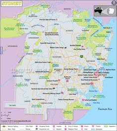 Sydney is the most populated city in Australia. Explore more about it through this map. Sydney Map, Sydney City, Sydney Tourist Attractions, Tourist Places, Australia Map, Sydney Australia, Australia Pictures, Map Pictures, Londonderry