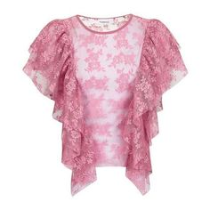 Lace Ruffle T-Shirt by Glamorous ($35) ❤ liked on Polyvore featuring tops, topshop tops, flounce tops, pink top, frilly tops and flutter-sleeve top
