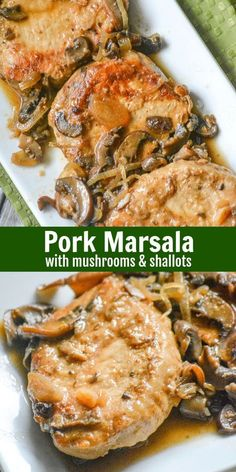 Pork Marsala with Mushrooms & Shallots - Chicken isn't the only thing that pairs beautifully with a savory Marsala wine sauce. In this rendition, pork chops are the star of the show. == CLICK THROUGH TO SEE! Easy Pork Chop Recipes, Pork Recipes, Gourmet Recipes, Cooking Recipes, Healthy Recipes, Cooking Pork, Cooking Tips, Gourmet Meals, Gourmet Cooking