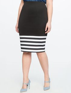 If to my knee, this is 100% my style! Contrast Striped Pencil Skirt from eloquii.com