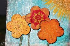Genuinely Jane Studios / Artistcellar Blog Hop by Lori Batronis at www.LorisHappyPlace.blogspot.com #mixedmedia #art #canvas #flower #sun #bright #happy #modelingpaste #stencil