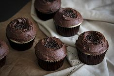 These vanilla bean cupcakes topped with a thick natural cocoa buttercream are a family favorite!