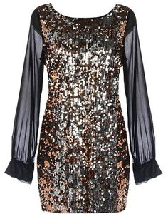 Sequin Resolution Dress: Features an elegant boat neck framed by cuffed chiffon sleeves, sparkling sequin body comprised of hundreds of shiny gold and silver embellishments, and a super versatile shift silhouette to finish. Night Outfits, Dress Outfits, Dress Up, Nye Dress, Nye Outfits, Sequin Dress, Casino Royale, Games Design, Fashion Moda