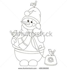 Snowman with bullfinches talking on a vintage telephone. Vector illustration, isolated object on a white background.