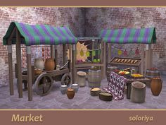 This set has everything for your market. The set includes 19 objects:  Found in TSR Category 'Sims 4 Miscellaneous Sets'