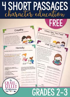 FREE Character Education Reading Passages. These are a perfect reading activities and understanding character traits Click now to download your free passages!