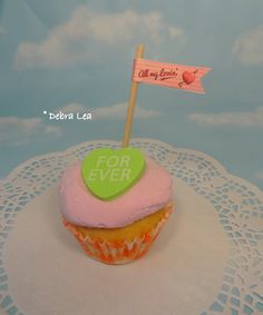 Fake Cupcake Faux Valentine Conversation Heart Candy FOREVER Strawberry Pink Pennant Cake - Imagine Out Loud