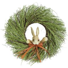 Features:  -Sisal grass.  -With rabbit.  --An inviting wreath for your front door that will greet all your guest with a smile.