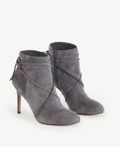 NIB Ann Taylor Cecilia Suede Lace Up Booties-iron grey- Size 7.5 MSRP $228