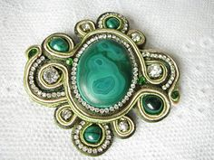 Green Brooch Malachite brooch Large brooch Rhinestone brooch Gemstone brooch Stone brooch Victorian brooch Mom Gift for her Crystal brooch