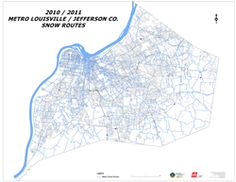 Map of Metro Snow Routes Louisville KY Jefferson County