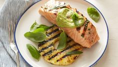 Grilled Salmon and Pineapple with Avocado Dressing recipe from Giada De Laurentiis via Food Network // dinner Grilled Salmon Recipes, Fish Recipes, Seafood Recipes, Dinner Recipes, Grilled Fish, Giada De Laurentiis, Food Network Recipes, Food Processor Recipes, Cooking Recipes