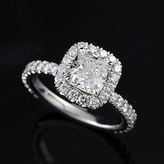 Platinum Cushion Diamond Engagement Ring Mounting by OroSpot, $2869.00
