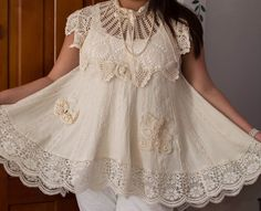 Check it out! Bohemian Lace Dress, Bohemian Gypsy, Lace Top Dress, Lace Tunic, Victorian Lace, Antique Lace, Linens And Lace, Flower Girl Dresses, Lace Dresses