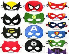 100 felt Superhero Masks party pack for kids adults by FeltFamily