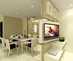 Living/Dining – rotatable TV feature wall that allows the view from both living & dining. Living/Dining – rotatable TV feature wall that allows the view from both living & dining. Living Room Partition, Room Partition Designs, Living Room Tv, Tv Wall Design, Design Case, House Design, Design Design, Tv Stand Room Divider, Tv Feature Wall