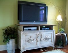 Upcycled dresser to TV stand, add-on top