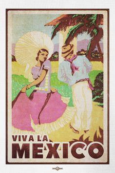 Vintage Viva La Mexico Travel Poster by BuchananPaperArt on Etsy