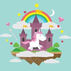 Allenjoy photo background kids background cute Unicorn Rainbow Castle Love hearts Background fond vinyl photo booth vinyl