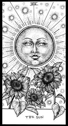 This is a gallery-quality giclée art print on 100% cotton rag archival paper, printed with archival inks. Wicca, Tarot Card Tattoo, Tarot Card Art, The Sun Tarot Card, Carta Astral, Artist And Craftsman, Sun Tattoos, Major Arcana, Avicii Tattoo