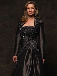 (NO.0251524 )A-line Strapless Applique  Long Sleeves Floor-length Satin Chocolate Mother of the Bride Dresses