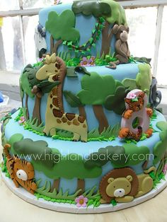 safari cake. For more jungle/safari baby shower ideas go to: http://www.modern-baby-shower-ideas.com/safari-baby-shower-theme.html