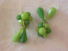 Vintage Plastic Made in Hong Kong Lime Greens Dangle Earrings