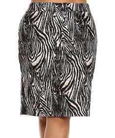 Look what I found on #zulily! Black Zebra Pencil Skirt - Plus by BellaBerry USA #zulilyfinds