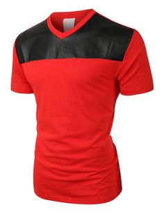 Mens Edgy Faux Leather Slub Raglan Short Sleeve T Shirt