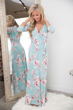 All About That Love Floral Maxi Dress Mint
