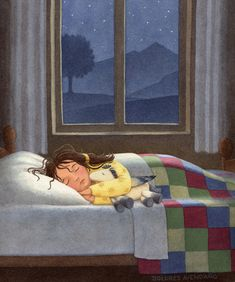 Dreams are made to be possible if you believe . Art And Illustration, Illustration Nocturne, Merry Christmas Pictures, Nighty Night, Good Night Image, Kids Sleep, Girl Sleeping, Fine Art, Bedtime