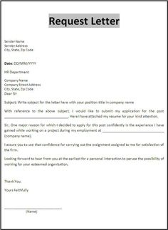 Sample Request Letters Writing Professional Dear Sir Madam