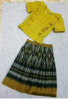 Dress silk formal style for 2019 Myanmar Traditional Dress, Traditional Dresses, Batik Dress, Silk Dress, Myanmar Dress Design, Baby Frocks Designs, Batik Fashion, Sari Blouse Designs, Thai Dress