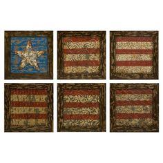Six-piece antiqued wall art set with an American flag motif.   Product: 6 Piece wall art setConstruction Material: Iro...