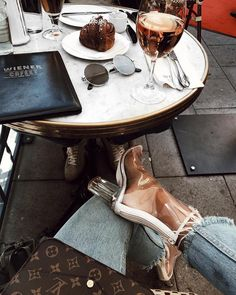 "9,971 Likes, 63 Comments - NA-KD.com - Nothing but Style (@nakdfashion) on Instagram: ""How I like to start my Monday? 👆🏼🍷💕 With Rosé, cinnamon bun and my new 'Transparent Mid Heel Boots'…"""