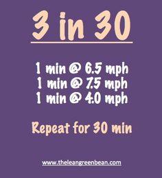 3 miles in 30 min intervals